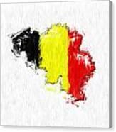 Belgium Painted Flag Map Canvas Print