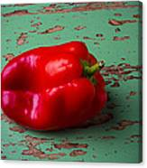 Bell Pepper On Green Board Canvas Print