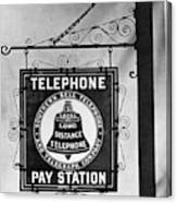 Bell Telephone Sign, C1899 Canvas Print