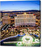 Bellagio Rountains From Eiffel Tower At Dusk Canvas Print