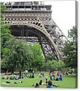 Below The Eiffel Tower Canvas Print