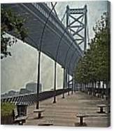 Ben Franklin Bridge And Pier Canvas Print