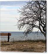 Bench And Beach Canvas Print