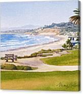 Bench At Powerhouse Beach Del Mar Canvas Print