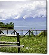 Bench By The Lake. Canvas Print