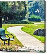Bench In A Park With A Walkway Canvas Print
