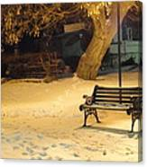 Bench In The Winter Park Canvas Print