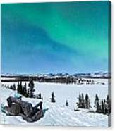 Bench Looking On Lake Laberge With Northern Lights Canvas Print