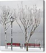 Bench On Lakefront In Winter Canvas Print