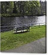 Bench On Shore Of River Ness In Inverness Canvas Print