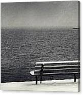 Bench On The Winter Shore Canvas Print