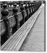 Bench Row Black And White Canvas Print