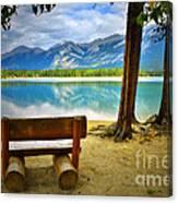 Bench View At Lake Edith Canvas Print