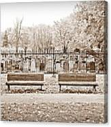 Benches By The Cemetery In Sepia Canvas Print