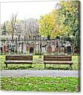 Benches By The Cemetery Canvas Print