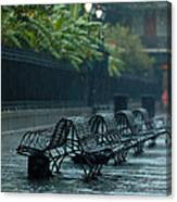 Benches In The Rain Canvas Print