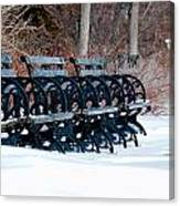 Benches In The Snow Canvas Print