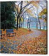 Benches Of Fall Canvas Print