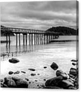 Bennet Bay Pier Black And White Canvas Print