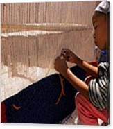 Berber Girl Working On Traditional Berber Rug Ait Benhaddou Southern Morocco Canvas Print