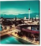 Berlin Germany Major Landmarks At Night Canvas Print