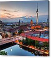 Berlin Germany Major Landmarks At Sunset Canvas Print