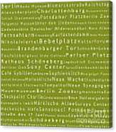 Berlin In Words Olive Canvas Print