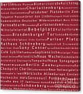 Berlin In Words Red Canvas Print