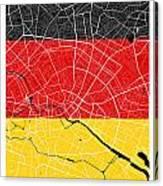 Berlin Street Map - Berlin Germany Road Map Art On German Flag Background Canvas Print