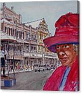 Bermuda Lady In Red And Cop Canvas Print