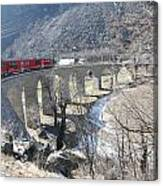 Bernina Express In Winter Canvas Print