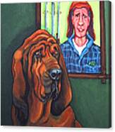 Bloodhound - Bervil And Blue Canvas Print