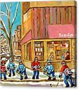 Best Sellers Original Montreal Paintings For Sale Hockey At Beauty's By Carole Spandau Canvas Print