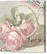 Best Wishes Vintage Roses Card  Canvas Print