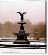 Bethesda Fountain Snow Canvas Print