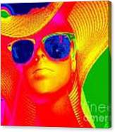 Betsy In Blue Sunglasses Canvas Print