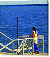 Between Sky And Sea Lachine Canal Viewing Pier Picturesque Water Scenes Montreal Art Carole Spandau Canvas Print