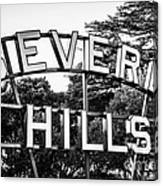 Beverly Hills Sign In Black And White Canvas Print