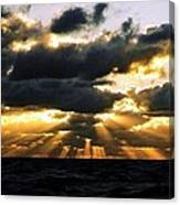 Crepuscular Biblical Rays At Dusk In The Gulf Of Mexico Canvas Print