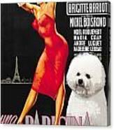 Bichon Frise Art - Una Parigina Movie Poster Canvas Print