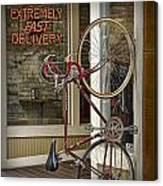Bicycle Attached To Wall Outside Of Fast Food Restaurant Canvas Print