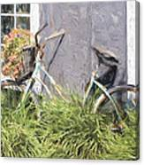 Bicycle Basket Of Flowers Painterly Effect Canvas Print