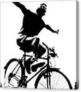 Bicycle - Black And White Pixels Canvas Print
