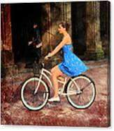 Bicycle Girl 1c Canvas Print