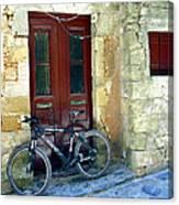 Bicycle Of Santorini Canvas Print