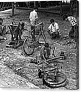 Bicycle Repair In Amarapura Canvas Print