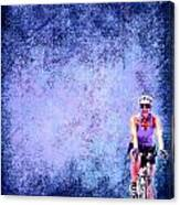 Bicycle Rider On Blue Background Canvas Print