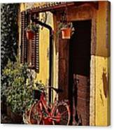 Bicycle Under The Porch Canvas Print