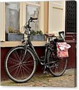 Bicycle With Baby Seat At Doorway Bruges Belgium Canvas Print