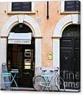 Bicycle With Blue Table And Chairs In Roma Canvas Print
